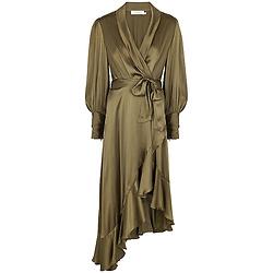Olive silk-satin wrap dress