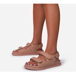 HYPED QUILTED DOUBLE STRAP FLAT DAD SANDAL IN NUDE FAUX LEATHER