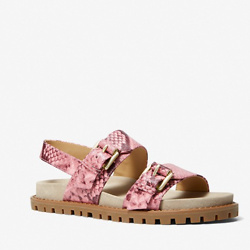 蛇纹压花皮革凉鞋