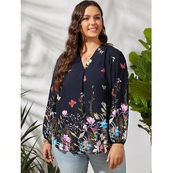 Flower Butterfly Print V-neck Long Sleeve Plus Size Blouse for Women