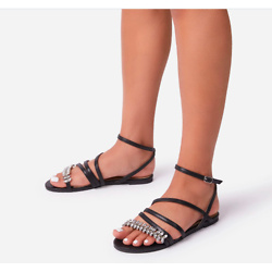 MEANT-TO-BE DIAMANTE STRAP DETAIL FLAT SANDAL IN BLACK FAUX LEATHER