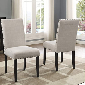 Roundhill Furniture Biony Tan Fabric Dining Chairs