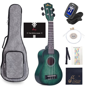 WINZZ 21 Inches Soprano Ukulele Vintage with Online Lessons