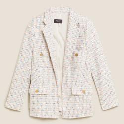 Tweed Straight Checked Longline Blazer