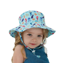 Kid's Breathable Sun Hat with Brim and Adjustable Drawstrings