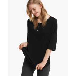 1/2 Sleeve Silk Knit Tee For Women