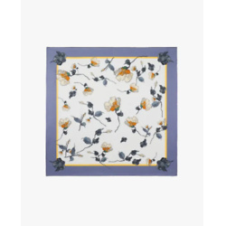 Chic Floral Square Silk Scarf