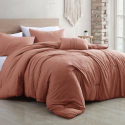4-Piece Garment-Washed Comforter Set - Beck Dark Rose - Queen