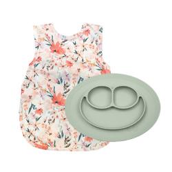 EZPZ Peachy Dreams Bib Apron & Mini Silicone Feeding Mat