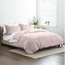 Home Spun Home Collection Premium Ultra Soft Wild Flower Pattern 3-Piece Reversible Duvet Cover Set - Pink