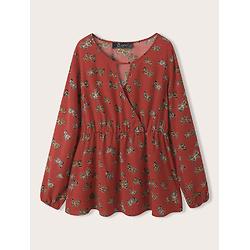 Butterfly Print Deep V-neck Elastic Waist Long Sleeve Plus Size T-Shirt