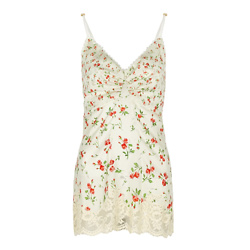 Floral-print lace-trimmed satin top