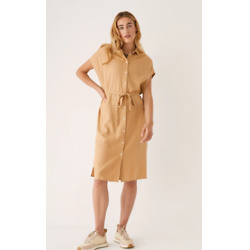 棕褐色中长亚麻通勤连衣裙