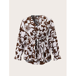 Flower Print Knotted Waist V-neck Long Sleeve Plus Size Casual Blouse