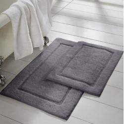 Charcoal Solid Loop Non-Slip Bath Mat 2-Piece Set
