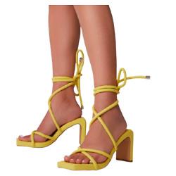 系带黄色高跟凉鞋