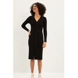 黑色开襟毛衣连衣裙
