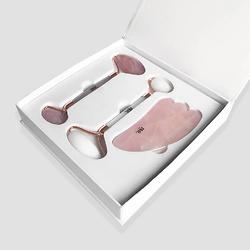 白玉和玫瑰石英美容工具宝石套装