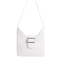 CARLSON BUCKLE DETAIL SHAPED SHOULDER BAG IN WHITE CROC PRINT FAUX LEATHER