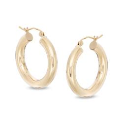 25mm Tube Hoop Earrings in 14K Gold