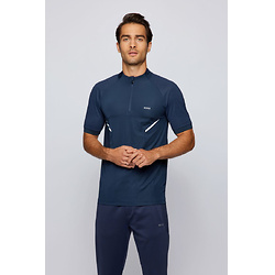 Mixed-material slim-fit polo shirt with stand collar