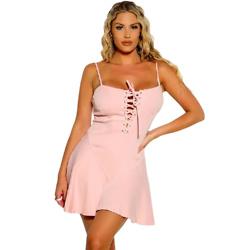 Pink Sleeveless Lace Up A-Line Dress