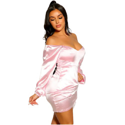 Pink Off The SHoulder Short Sleeve Faux Satin Ruched Party Dress