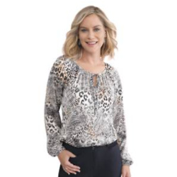 Leopard and Houndstooth Print Blouse
