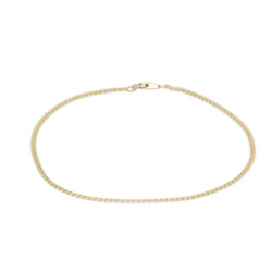 030 Gauge Double Loop Hollow Link Chain Anklet in 10K Gold - 10