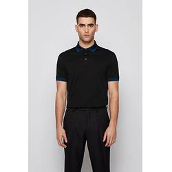 Cotton polo shirt with embroidered-logo collar