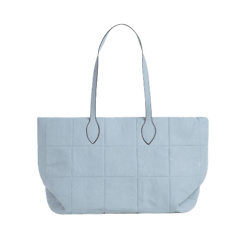 JADA QUILTED SHOPPER BAG IN BLUE FAUX SUEDE