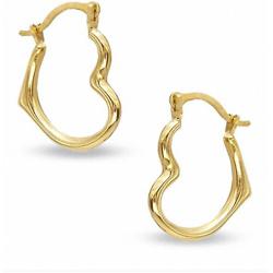10K Gold Open Heart Hoop Earrings