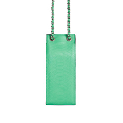 CHASE CHAIN STRAP DETAIL MILK CARTON BAG IN GREEN CROC PRINT FAUX LEATHER