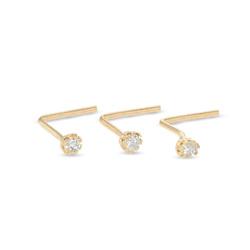 022 Gauge Cubic Zirconia Three Piece L-Shape Nose Stud Set in 10K Gold