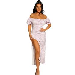 Designer Inspired Purple Puff Sleeves Floral Print Side Slit Sun Dress
