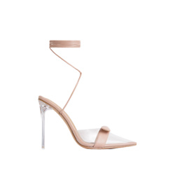 VIBE-CHECK STRAP DETAIL LACE UP POINTED CLEAR PERSPEX HEEL IN NUDE FAUX LEATHER
