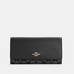 COACH Slim Trifold Wallet In Signature Canvas