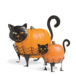 Halloween Cat Pumpkin Holders with Green LED Eyes, Set of 2 - Cat