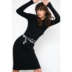Brandy Black Rib Midi Dress
