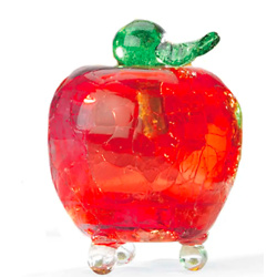 Handmade Crackle Glass Apple Fruit Fly Trap - Red