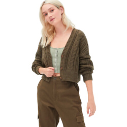 Cable-Knit Cropped V-Neck Cardigan