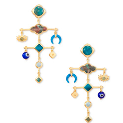 Gemma Gold Statement Earrings In Teal Mix