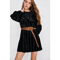Dalores Black Puff Sleeve Mini Dress