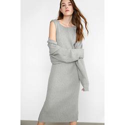 Bertine Grey Bodycon Midi Dress