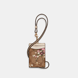 COACH Id Lanyard In Signature Canvas With Evergreen Floral Print