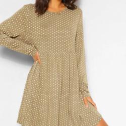 Polka Dot Long Sleeve Smock Dress