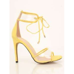 Yellow Clear Detail Single Sole High Heels Faux Suede