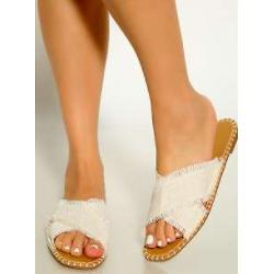 Beige Open Toe Woven Cross Strap Slip On Sandals