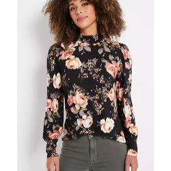 Black Floral Blouson Sleeve Mock Neck Tee