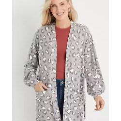 Gray Leopard Pocket Cardigan